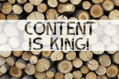 Conceptual announcement text caption inspiration showing Content Is King Business concept for Business Marketing Online Media writ Royalty Free Stock Photography