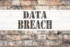 Conceptual announcement text caption inspiration showing Data Breach. Business concept for Tech Internet Network Breaking into Dat Royalty Free Stock Image