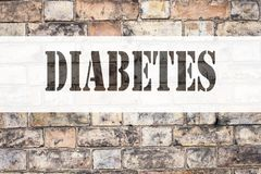 Conceptual announcement text caption inspiration showing Diabetes. Business concept for Disease Medical Insulin written on old bri. Ck background with space Royalty Free Stock Image