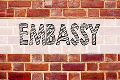 Conceptual announcement text caption inspiration showing Embassy. Business concept for Tourist Visa Application written on old bri. Ck background with space Stock Photos