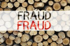 Conceptual announcement text caption inspiration showing Fraud Business concept for Criminal hacker security prevention written on. Wooden background with space Royalty Free Stock Photography