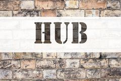 Conceptual announcement text caption inspiration showing HUB. Business concept for HUB Advertisement written on old brick backgrou. Nd with space Stock Photo
