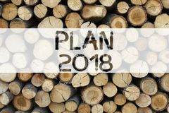 Conceptual announcement text caption inspiration showing Plan 2018 Business concept for Strategy Action Plan 2018 written on woode. N background with copy space Royalty Free Stock Image