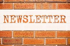 Conceptual announcement text caption inspiration showing Subscribe Newsletter. Business concept for Internet Online Communication. Written on old brick Royalty Free Stock Photos