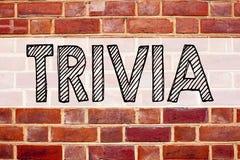 Conceptual announcement text caption inspiration showing Trivia. Business concept for Unimportant Quiz Fun written on old brick ba stock images