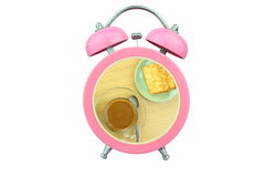 Conceptual art coffee time : coffee and biscuits within pink alarm clock isolated on white background Stock Photo