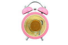 Conceptual art coffee time : coffee within pink alarm clock isolated on white background Royalty Free Stock Image
