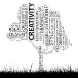 Conceptual art and design tree word cloud Stock Photos