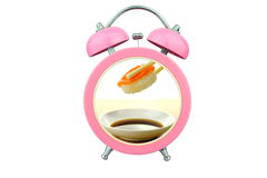 Conceptual art sushi time : holding salmon sushi and sauce within pink alarm clock isolated on white background Stock Images