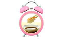Conceptual art sushi time : holding shrimp sushi and sauce within pink alarm clock isolated on white background Royalty Free Stock Photography