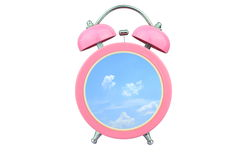 Conceptual art time to relax : sky and cloud within pink alarm clock isolated on white background Stock Image