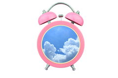 Conceptual art time to relax : sky and cloud within pink alarm clock isolated on white background Royalty Free Stock Photography