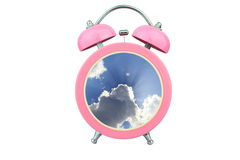 Conceptual art time to relax : sunlight shining through cloud within pink alarm clock isolated on white background Stock Photography