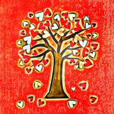 Watercolor love tree. A conceptual artistic tree illustration with love hearts royalty free stock photo