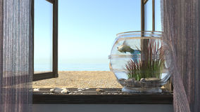 Conceptual background with beach sea, Stock Photo