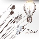Conceptual background with brushes and hand drawn lamp find idea Stock Image
