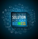 Conceptual background: find the best solution for your business. A big slogan over a squared panel placed over a doodle sketch background wih infographics Stock Photography