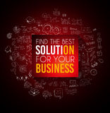 Conceptual background: find the best solution for your business. A big slogan over a squared panel placed over a doodle sketch background infographics themed Stock Images