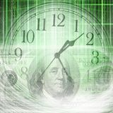 Conceptual background image of binary code with time and money c. Oncept royalty free illustration