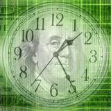 Conceptual background image of binary code with time and money c. Conceptual background image of binary code with and money concept stock illustration