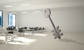 Conceptual background image of concrete key sign in modern office interior Royalty Free Stock Photos