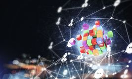 Concept of Internet and networking with digital cube figure on d Stock Photography