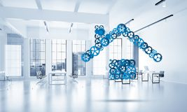 Real estate or construction idea presented by home icon on white. Conceptual background image with house sign made of connected gears. 3d rendering Stock Images