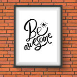 Conceptual Be Awesome Texts with Star on a Frame Stock Photo
