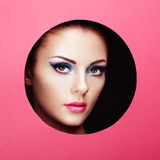 Conceptual beauty portrait of beautiful young woman. Cosmetic Eyeshadows. Fashion photo Royalty Free Stock Photos
