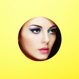 Conceptual beauty portrait of beautiful young woman. Cosmetic Eyeshadows. Fashion photo Stock Photo