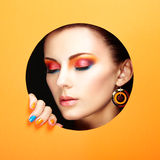 Conceptual beauty portrait of beautiful young woman. Cosmetic Eyeshadows. Fashion photo Royalty Free Stock Images