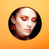 Conceptual beauty portrait of beautiful young woman. Cosmetic Eyeshadows. Fashion photo Royalty Free Stock Photo