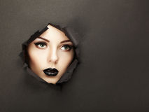 Conceptual beauty portrait of beautiful young woman Stock Photography