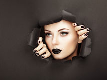 Conceptual beauty portrait of beautiful young woman. Perfect Manicure.  Cosmetic Eyeshadows. Fashion photo Royalty Free Stock Images