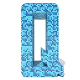 Blue light dark square mosaic ceramic glass tiles font. Conceptual blue light and dark square mosaic ceramic or glass tiles font isolated on white background. 3D Royalty Free Stock Image