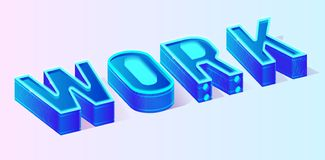 Neon Blue Work Banner Motivation Text Template royalty free illustration