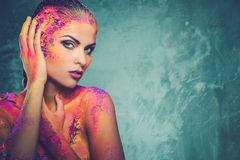 Conceptual body art on a woman Stock Photo