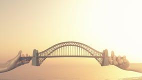 Conceptual bridge over water. Royalty Free Stock Image