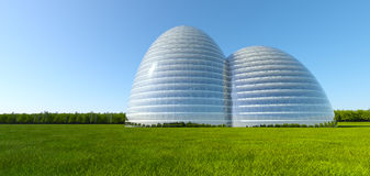 Conceptual building at grass field near forest Royalty Free Stock Photography