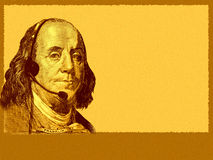 Conceptual business/customer service. The head of USA 100 dollars bill- president Franklin, with headset. A bit grainy Stock Image