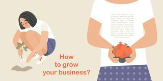 Conceptual business educational illustration with a cute girl planting strawberries and getting a rich harvest. Cartoon character stock illustration