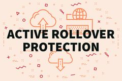 Conceptual business illustration with the words active rollover. Protection Stock Photography