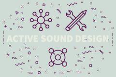 Conceptual business illustration with the words active sound des. Ign Stock Image