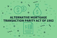Conceptual business illustration with the words alternative mort. Gage transaction parity act of 1982 Royalty Free Stock Images