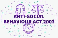 Conceptual business illustration with the words anti-social behaviour act 2003 stock illustration