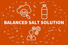 Conceptual business illustration with the words balanced salt so. Lution Royalty Free Stock Photo