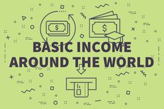 Conceptual business illustration with the words basic income aro. Und the world Royalty Free Stock Image