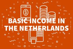 Conceptual business illustration with the words basic income in. The netherlands Stock Photos