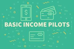 Conceptual business illustration with the words basic income pil. Ots Royalty Free Stock Photography