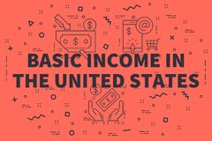 Conceptual business illustration with the words basic income in. The united states Royalty Free Stock Images